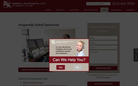Screenshot of FAQ Page klinglerlaw.com - FAQ   Employment Law   Business Litigation   Cincinnati, Ohio - captured Oct. 22, 2017