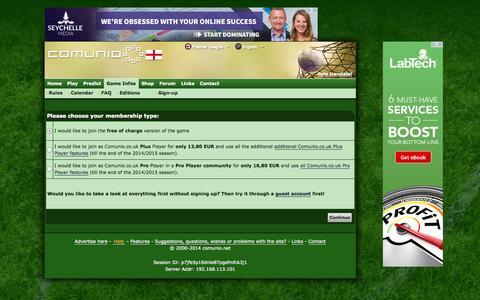 Screenshot of Signup Page comunio.co.uk - COMUNIO football manager, soccer manager, fantasy football, Premier League manager - captured Nov. 2, 2014