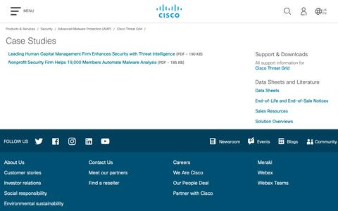 Screenshot of Case Studies Page cisco.com - Cisco Threat Grid - Case Studies - Cisco - captured Nov. 16, 2018