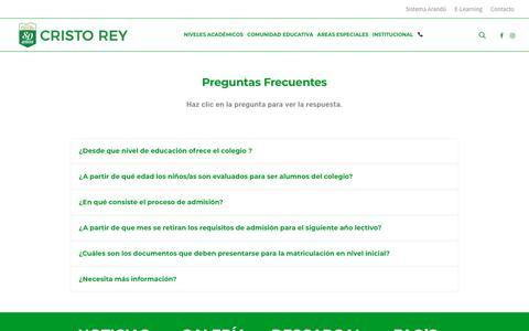 Screenshot of FAQ Page xtorey.edu.py - Preguntas Frecuentes - Colegio Cristo Rey - captured Nov. 10, 2018