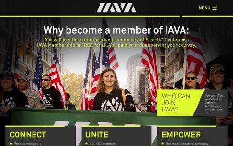 Screenshot of Signup Page iava.org - Why become a member of IAVA » Iraq and Afghanistan Veterans of America (IAVA) - captured Feb. 20, 2016