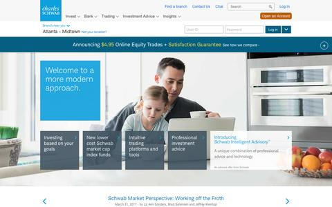 Screenshot of Home Page schwab.com - Charles Schwab | A modern approach to investing & retirement - captured April 1, 2017