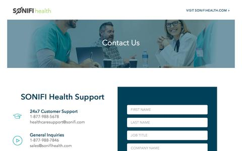 Screenshot of Contact Page sonifihealth.com - Contact Us | SONIFI Health - captured Aug. 22, 2019