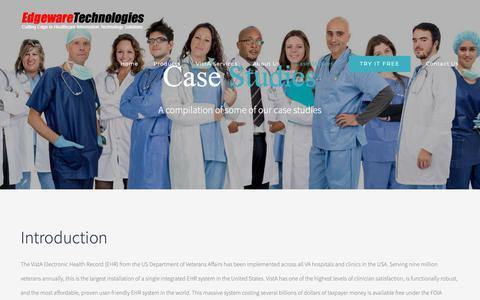 Screenshot of Case Studies Page vista-edge.com - Case Studies   Edgeware Technologies   Cloud Based VistA-Edge EHR Suite - captured Sept. 27, 2018
