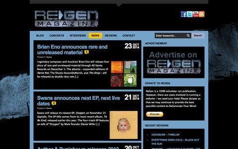 Screenshot of Press Page regenmag.com - News Archives « ReGen Magazine - captured Oct. 26, 2014