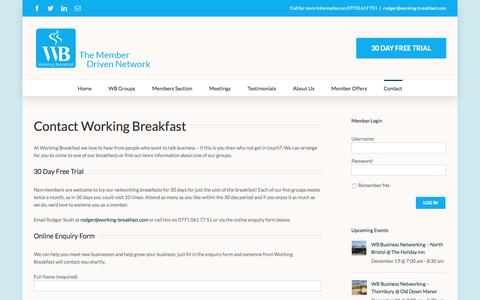 Screenshot of Contact Page working-breakfast.com - Contact - Working Breakfast - captured Dec. 18, 2016