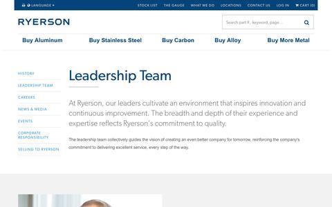 Screenshot of Team Page ryerson.com - Leadership Team - Ryerson - captured Nov. 17, 2018
