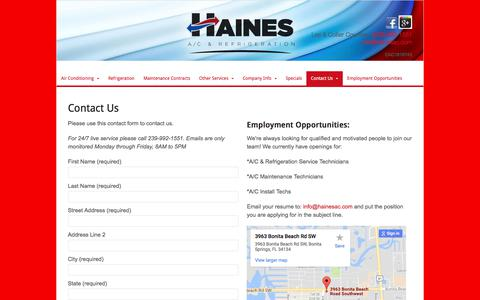 Screenshot of Contact Page hainesac.com - Naples Air Conditioning Company | Contact Our HVAC Team | Haines AC - captured July 13, 2017