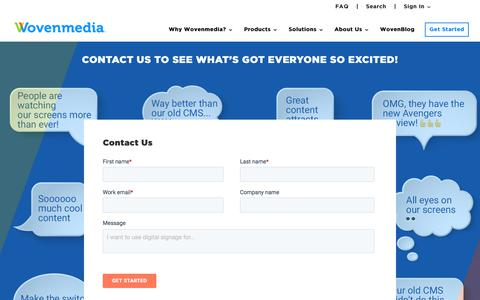 Screenshot of Contact Page wovenmedia.com - Find the right digital signage solution | Contact Our Team - captured July 11, 2019