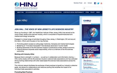 Screenshot of Signup Page hinj.org - Join HINJ - HealthCare Institute of New Jersey - captured Nov. 5, 2016
