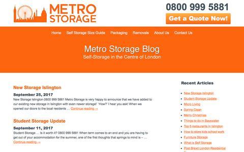 Screenshot of Blog metro-storage.co.uk - Read News Around Our London Self Storage Services   Metro Storage - captured Oct. 18, 2017