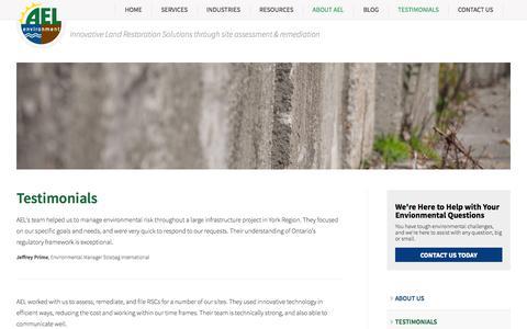 Screenshot of Testimonials Page aelenv.com - Testimonials | AEL Environment - captured Nov. 2, 2014