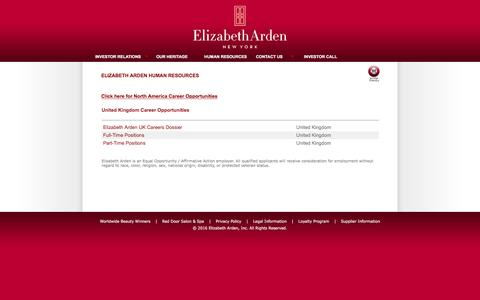 Screenshot of Jobs Page elizabetharden.com - Human Resources: Jobs and Career Opportunities, Elizabeth Arden - Corporate - captured July 13, 2016