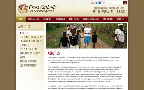 Screenshot of About Page crosscatholic.org - About Us (About Us) - captured Feb. 1, 2016