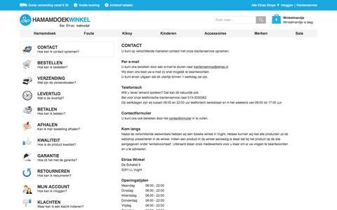 Screenshot of Privacy Page Contact Page hamamdoekwinkel.nl - Veelgestelde Vragen | Hamamdoekwinkel.nl - captured March 4, 2016