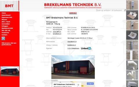 Screenshot of Contact Page bmt.nl - Producent van dakdoorvoeren en hemelwaterafvoeren - captured Oct. 9, 2017