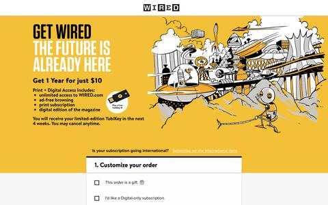 Screenshot of Landing Page wired.com - WIRED Magazine Subscription - captured Aug. 27, 2018