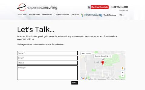 Screenshot of Contact Page expenseconsulting.com - Contact Us | Overhead Costs Reduction | Expense Consulting - captured Sept. 29, 2018