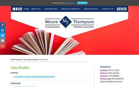 Screenshot of Case Studies Page moorethompson.co.uk - Case Studies - Moore Thompson - captured Oct. 20, 2018