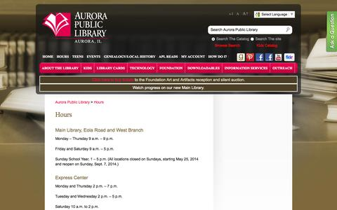 Screenshot of Hours Page aurorapubliclibrary.org - Aurora Public Library » Hours - captured Sept. 18, 2014