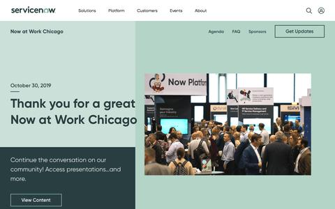 Screenshot of Case Studies Page servicenow.com - Now at Work Chicago | ServiceNow - captured Nov. 27, 2019