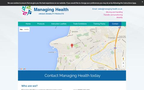 Screenshot of Contact Page managing-health.co.uk - Mobility and function products by Managing Health in Weston-Super-Mare - captured July 22, 2016