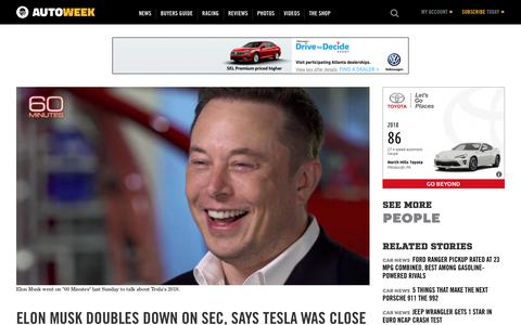 "Screenshot of Team Page autoweek.com - Tesla CEO Elon Musk does a wide-ranging CBS ""60 Minutes"" interview - captured Dec. 11, 2018"
