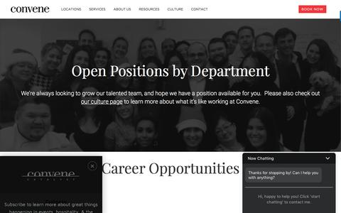 Screenshot of Jobs Page convene.com - Career Opportunities at Convene - captured April 14, 2017