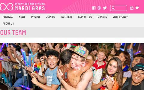 Screenshot of Team Page mardigras.org.au - Our Team - captured Sept. 24, 2018