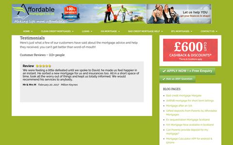Screenshot of Testimonials Page affordablemortgages.co.uk - Testimonials - Mortgage advice IVA and Bad Credit mortgage advice - captured Oct. 7, 2017
