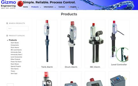 Screenshot of Products Page gizmo-engineering.com - Products   Gizmo Engineering - captured Nov. 28, 2018