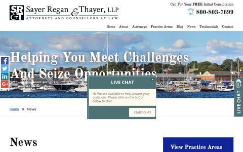 Screenshot of Press Page srtflaw.com - News  | Sayer Regan & Thayer, LLP | Newport, Rhode Island - captured Oct. 6, 2017