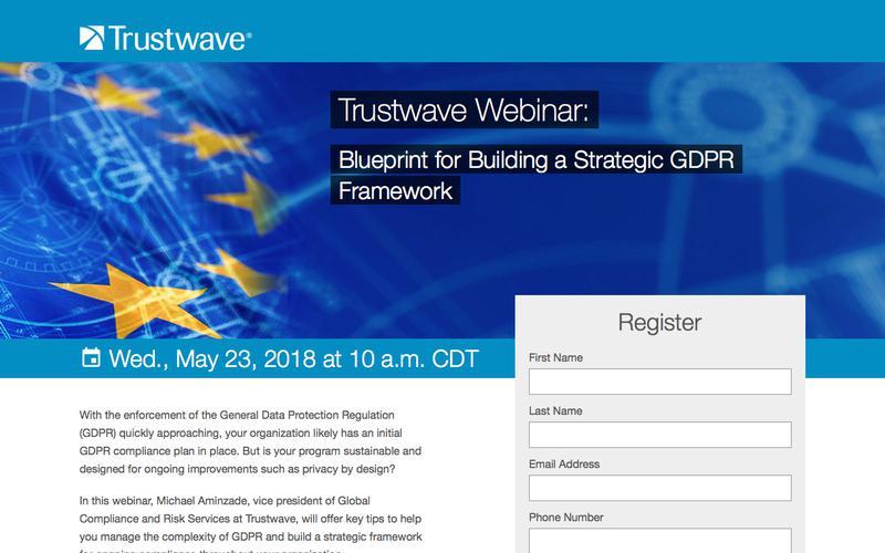 Trustwave Webinar: Blueprint for Building a Strategic GDPR Framework