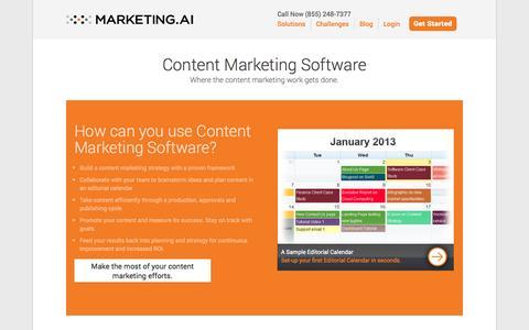 Screenshot of Home Page marketing.ai - Content Marketing Software and Content Marketing Framework - Marketing.AI - captured Sept. 25, 2014
