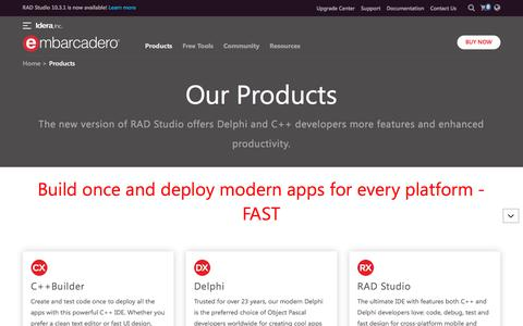 Screenshot of Products Page embarcadero.com - All App Development and Database Products - Embarcadero - captured July 14, 2019