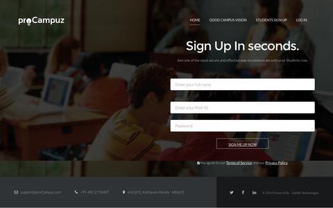 Screenshot of Signup Page procampuz.com - proCampuz - Simple App for Colleges - captured Oct. 27, 2014
