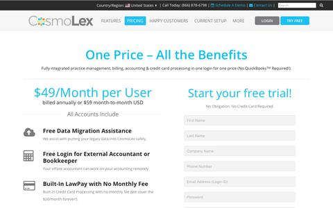 Screenshot of Pricing Page cosmolex.com - Pricing as Low as $49 a Month | Legal Practice Management & Billing Software | CosmoLex - captured May 24, 2018