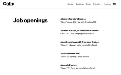 Screenshot of Jobs Page oath.com - All current job openings - Oath - captured March 11, 2019