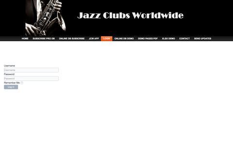 Screenshot of Login Page jazz-clubs-worldwide.com - Login - Jazz Clubs Worldwide Database - captured Oct. 20, 2017