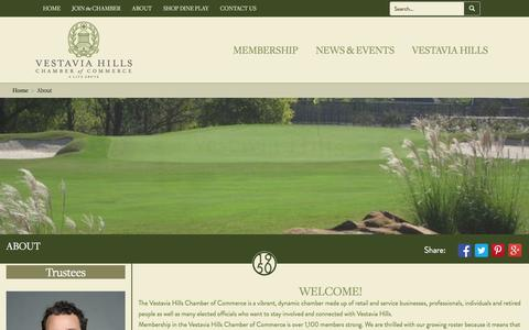 Screenshot of About Page vestaviahills.org - About Vestavia Hills Chamber of Commerce - captured Feb. 17, 2016