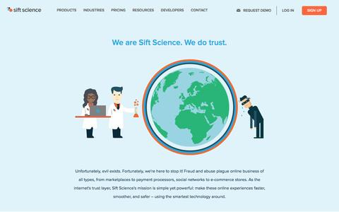 Screenshot of About Page siftscience.com - About Sift Science | Sift Science - captured May 3, 2016