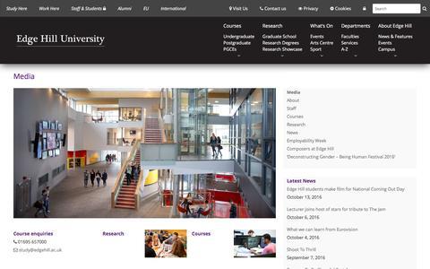 Screenshot of Press Page edgehill.ac.uk - Media - Edge Hill University - captured Oct. 25, 2016