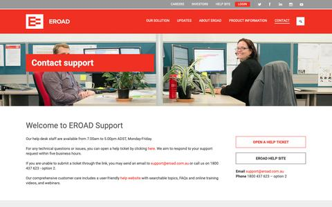 Screenshot of Support Page eroad.com.au - Contact Support  | EROAD - captured Oct. 25, 2018