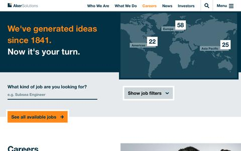 Screenshot of Jobs Page akersolutions.com - Careers | Aker Solutions - captured July 29, 2018
