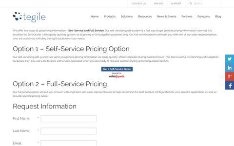Screenshot of Pricing Page tegile.com - Pricing   Tegile - captured Oct. 10, 2014