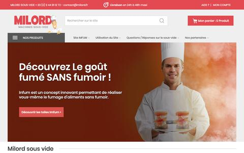 Screenshot of Home Page milord-sous-vide.com - Milord : Spécialiste de la machine sous-vide - captured Oct. 29, 2018