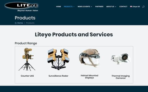 Screenshot of Products Page liteye.com - Anti Drone Systems, Helmet Mounted Display & Surveillance Radar Products - captured Sept. 24, 2018