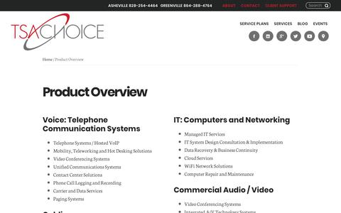 Screenshot of Services Page tsachoice.com - TSAChoice Overview: Telecommunications, IT, Cabling, Data & Security Products and Services - captured Oct. 26, 2017