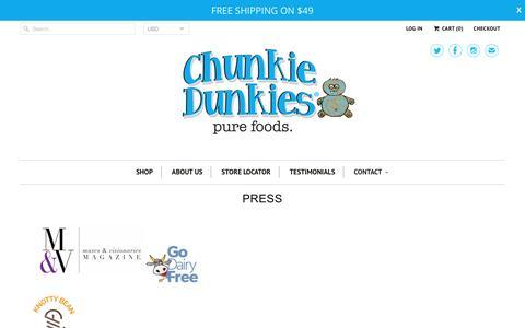 Screenshot of Press Page chunkiedunkies.com - PRESS - Chunkie Dunkies - captured May 17, 2017