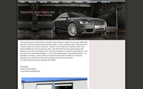 Screenshot of Testimonials Page tulsadetail.com - Executive Auto Detailing: Testimonials - captured Oct. 3, 2014